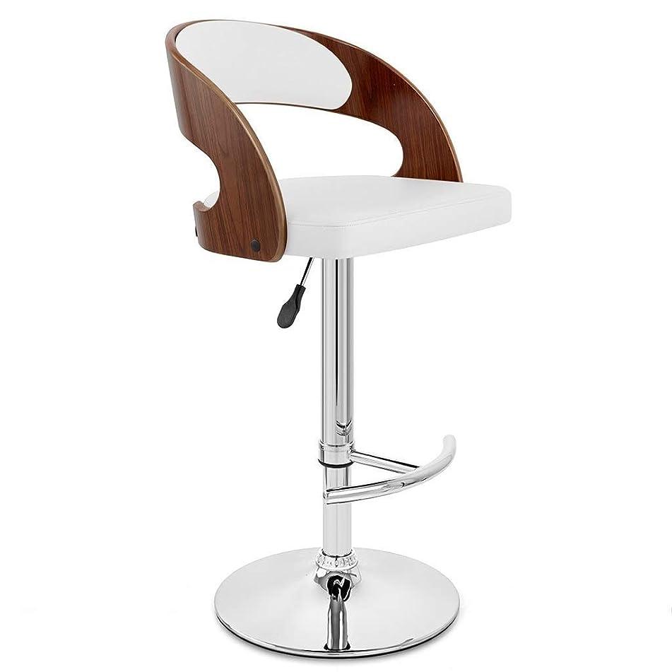 魔術中断シャンパンIAIZI クルミの木製の終わりの調節可能なカウンターの高さのバースツール、足台が付いているサロンスツールの回転肘掛け椅子、木製の背部残りが付いているクロム鋼の腰掛けのマッサージの顔の鉱泉の腰掛け椅子(PUの革クッション) (Color : White)