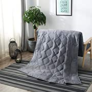 Weighted Blanket for Adult (25lbs 80''x 87'' Fit Queen or King Size Bed) Cooling Heavy Blanket with Noiseless Glass Beads Relieves Stress Anxiety for Better Sleeping, Dark Grey