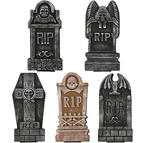 Sunnyglade Set of 5 Pack Halloween Foam RIP Graveyard Tombstones for Halloween Lawn Yard Decorations
