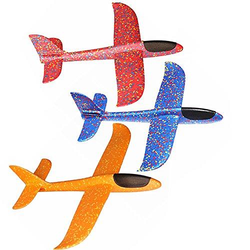 Alxcio Flugzeug Spielzeug Kinder Schaum Segelflugzeug, 3 Stück Styroporflieger Flugzeug Segelflugzeug Werfen Fliegen Modell Kindergeburtstag Geschenk für Kinder Junge Mädchen (Blau + Rot + Orange)
