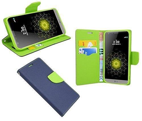ENERGMiX Buchtasche kompatibel mit LG G5 SE (H840) Hülle Hülle Tasche Wallet BookStyle mit Standfunktion in Blau-Grün (2-Farbig)