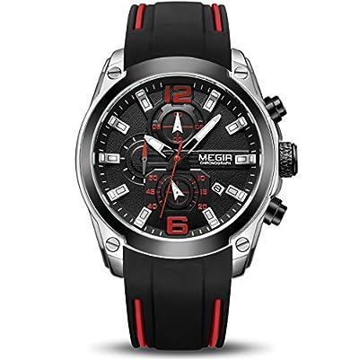 MEGIR Men's Sports Analogue Chronograph Luminous Quartz Wrist Watches with Stylish Blue Silicone Band (2063 Black)