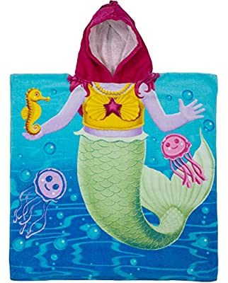 Dawhud Direct Kids Cotton Hooded Poncho Bath Beach Pool Towel
