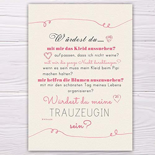 """A6 Postkarte """"Willst du meine Trauzeugin sein?"""" in sand/rosa Glanzoptik Papierstärke 235 g / m2 Geschenk für Schwester - Freundin, Trauzeugin zur Hochzeit"""