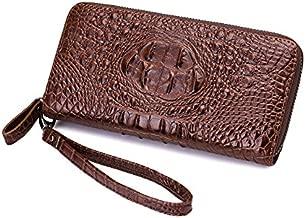 BHYUFF Women's Purse Luxury Crocodile Prints Wallet Women Clutch Female Artificial Leather Wristlets With Strap Black Brown