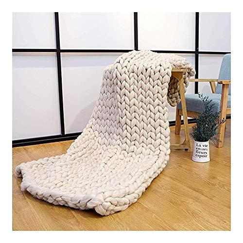 KEANCH Gestrickte Decke Grob Kuscheldecke Wolldecke Strickdecke, Grobe Strickdecke Wolle Garn Super Große Handgewebte Decke, für Sofa oder Tagesdecke (Color : Beige, Size : 150x180cm(59x71inch))