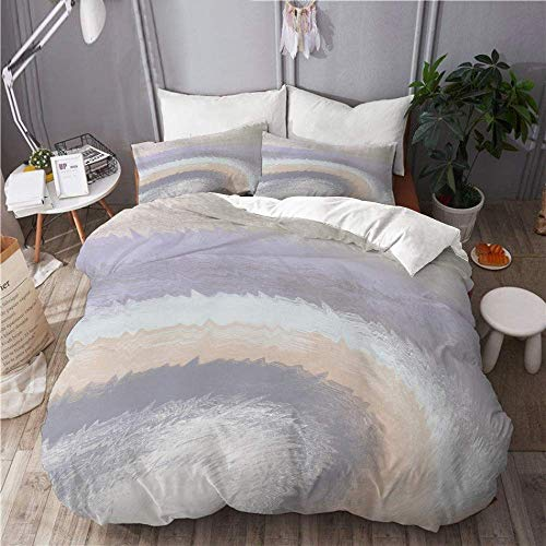 Yaoni Duvet Cover Set Abstract Modern Oyster Sand Grey Lavender Neutral Painting Swirl Morning Haze Beach Home Hotel Dorm Decorative 3pcs Bedding Set Matching 2 Pillow Shams Size