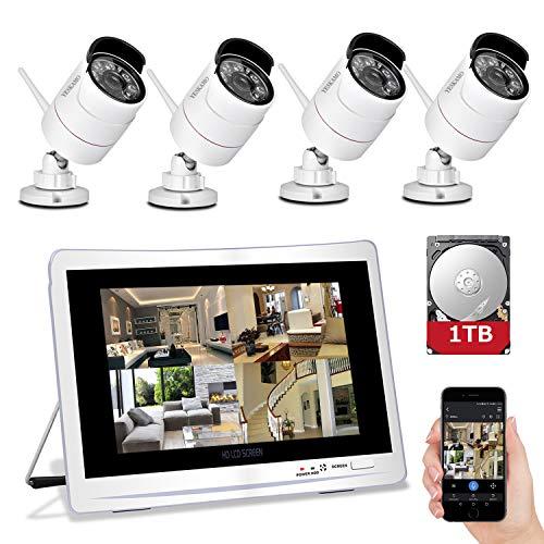 YESKAMO Überwachungskamera Set Aussen Wlan mit 4 x 1080P WiFi Wasserdicht Kameras 12' HD 2,0 Megapixel Monitor Vorinstalliert 1TB Festplatte Videoüberwachungssystem mit Nachtsicht Bewegungserkennung