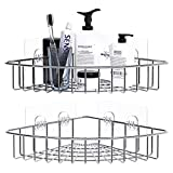 DOIOWN Corner Shower Caddy Bathroom Shower Caddy Corner Shelf Stainless Steel Adhesive Caddy Basket Shelf for Toilet, Dorm and Kitchen (No Drilling, 2 Pack) (2 Pack)