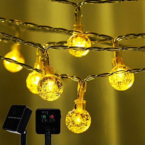 Upgraded Solar Powered Outdoor String Lights, 30 LED Garden Globe Crystal Balls String Light, 8 Modes Waterproof Outdoor Copper Wire Light, Decoration Lights for Party Christmas (Warm White)