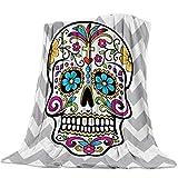 SODIKA Throw Blanket for Couch Bed Sofa Chair,Luxury Decorative Flannel Fleece Microfiber Throw Blankets,Chevron Sugar Skull Twin Size 40'x50'