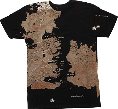 Game of Thrones Westeros Map Oversize Print T-Shirt, X-Large Black