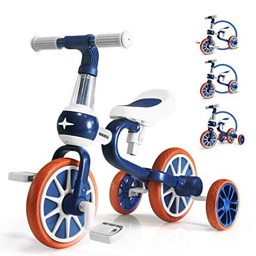 KORIMEFA 4 in 1 Bicicletta Senza Pedali per Bambini 2-4 Anni Triciclo per Bambini 2 Anni Ragazzo e Ragazza (Blu)