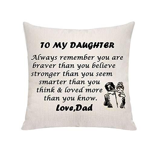VAVSU Fundas de almohada inspiradoras para regalar a la hija de papá, fundas de almohada estampadas en forma cuadrada, accesorios para Navidad, cumpleaños, día del padre