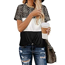 Asvivid Women Soft Color Block Short Sleeve Shirt Tops Twisted Round Neck Casual Loose Fit T Shirt