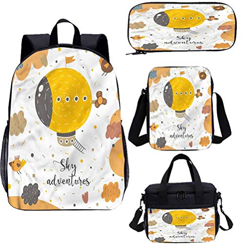 Cartoon 17' School Backpack & Lunch Bag Set,Kids Baby Shower Theme 4 in 1 Backpack Sets