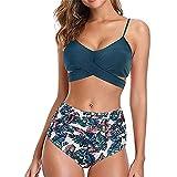 YANFANG Conjunto de Bikini con Estampado de Leopardo Sexy para Mujer Push Up Traje de baño de Cintura Alta,Bikini Set Sexy Halter Bandage Push Up Acolchado Bling Hight Cintura