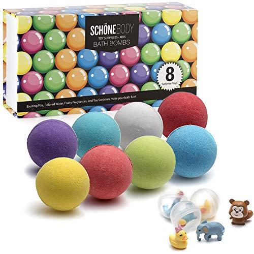 XXL Kids Toy Bath Bombs - XL 8 Surprise Aromatics Kids Surprise Bath Bomb Bath Toy By Schöne Body 100g 8 Set - Kid Safe, Gender Neutral with Organic Essential Oils