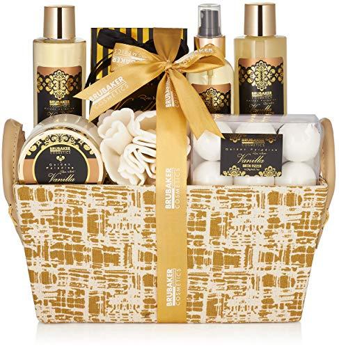 BRUBAKER Cosmetics Set de Baño y Ducha'Vanilla Golden Paradies' - Fragancia Rosas de Vainilla y Menta - Set de regalo de 14 piezas en caja con asa