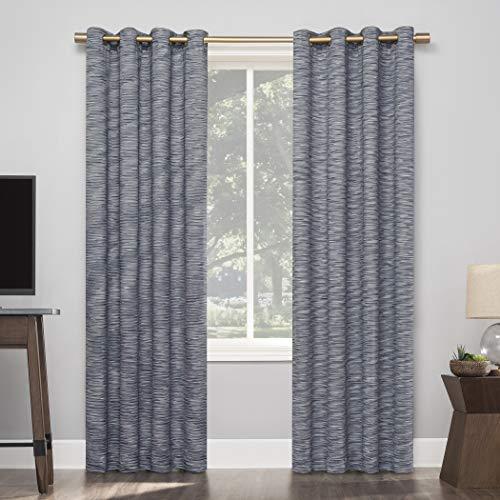 "Sun Zero Kasia Textured Strie Thermal Extreme 100% Blackout Grommet Curtain Panel, 50"" x 84"", Navy"