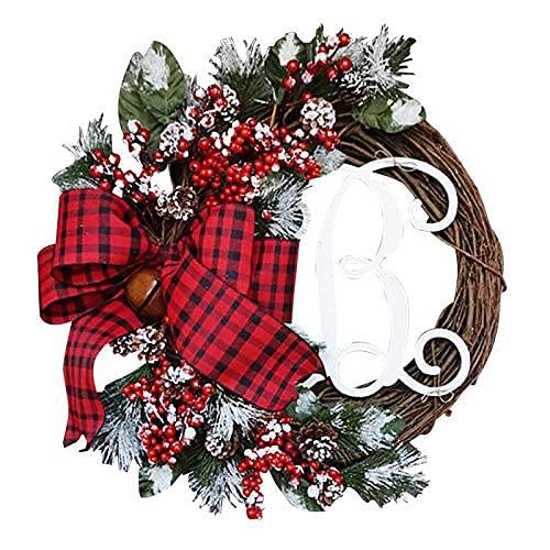 CAETNY Grinalda da Porta de Natal Porta da Frente pendurada Guirlanda Coroa de Flores Artificial Decoração de Natal para moldura da Janela da lareira (Cor: 4)