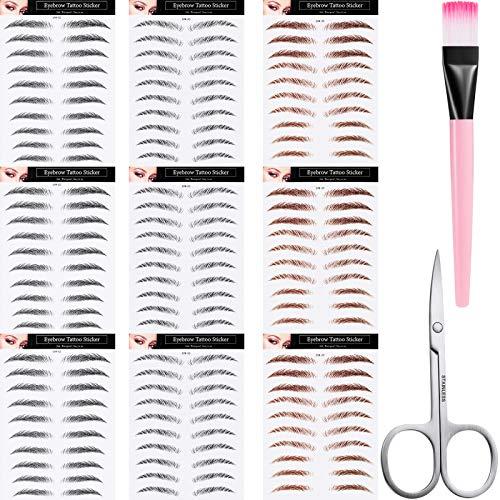9 Blätter 4D Haarähnliche Authentische Augenbrauen Wasserdichte Augenbrauen Tätowierung Aufkleber Augenbrauen Retuschieren Makeup Aufkleber mit Schere und Augenbrauen Pinsel für Frauen Mädchen
