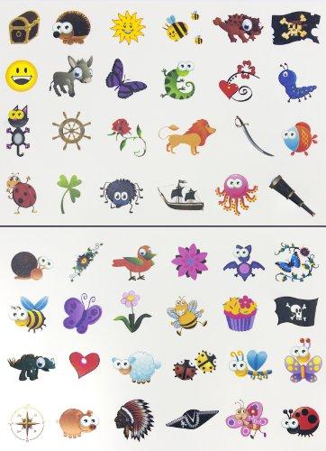 Oblique Unique® Tattoo Set 96 Kindertattoos Tattoo Verschiedene Motive Kinder Spielen