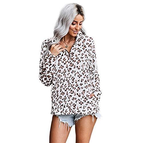 Camiseta de Manga Larga para Mujer, Cuello Alto con Cremallera, Estampado de Leopardo, Prendas de Vestir,...