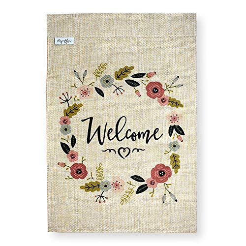 Premium Welcome Garden Flag Banner - 12x18 Double Sided Burlap Flag for Decorative use Indoor or Outdoor - Hang in Your Front Lawn, Vegetable Garden or Spring Garden - Fits Garden Flag Pole