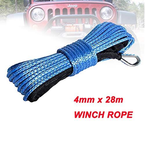 yingweifeng-01 Cuerda de cabrestante 4 mm x 28 m sintética del Torno línea de Fibra Cuerda de Remolque Cable Accesorios del Coche for 4X4 / ATV/UTV / 4WD / Off-Road (Color Name : Blue)