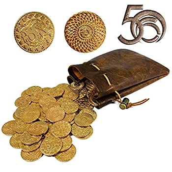 50 DND Fantasy Metal Gold Coins & Leather Pouch for Dungeons & Dragons Novelty Tabletop RPG Board Games Tokens Treasure Coins for Party Tablelap Games Accessories Addons Medieval Game Retro Props