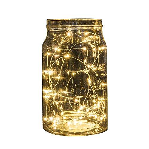 Keepwin 20 LED Bouton Alimenté De Piles Fil Mini Fée Guirlande Lumineuse Pour Le Mariage Saint Valentin Fête De Noël Décor À La Maison(Taille unique,Beige)