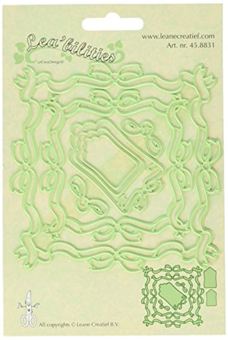 Ecstasy Crafts Lea'bilities Cut and Emboss Dies, 3-Inch to 4.25-Inch, Ribbon Frame Square
