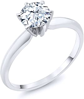 Gem Stone King 14K White Gold Hearts And Arrows White Created Sapphire Engagement Solitaire Ring (1.20 Ctw (Available 5,6,7,8,9)
