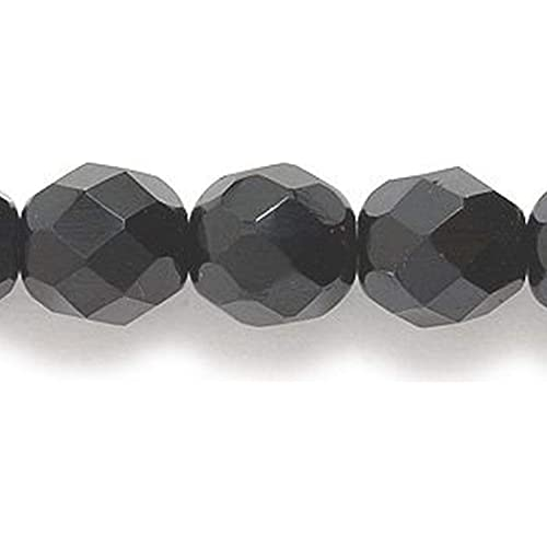 Faceted Round 50-Pack Luster Opaque White Preciosa Czech Fire 8mm Polished Glass Bead