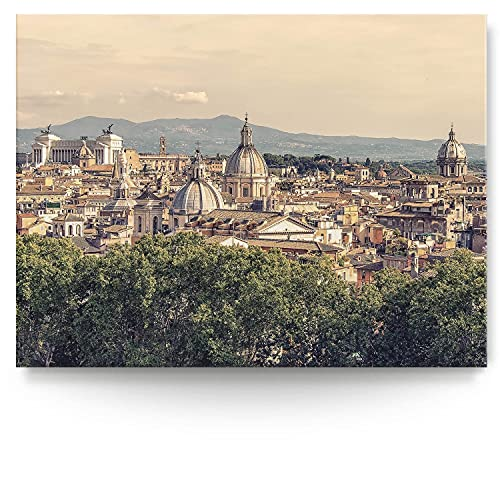 BilderKing Intensiv & Impostant 200x150cm großes Leinwand-Bild. Rom, Italien, Skyline als Wandbild auf 4cm tiefen Keilrahmen. Eindrucksvoller können Sie Ihren Raum Nicht in Szene setzen