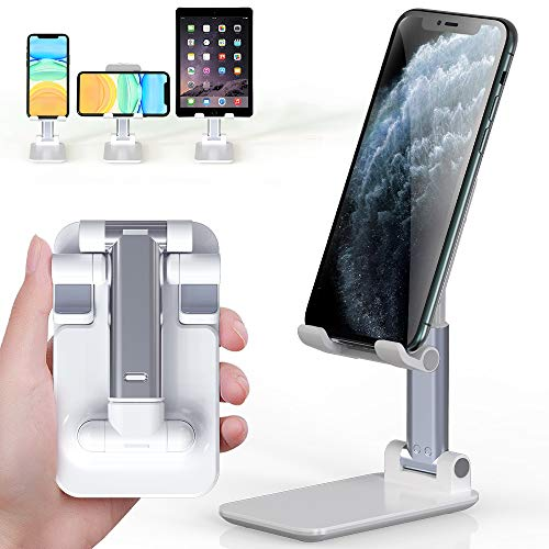 YIBIDINAY Cell Phone Stand, Foldable Portable Desktop Stand Adjustable Height and Angle Phone Holder for Desk Sturdy Aluminum Metal Stand Compatible with Smartphone/iPad/Kindle/Tablet