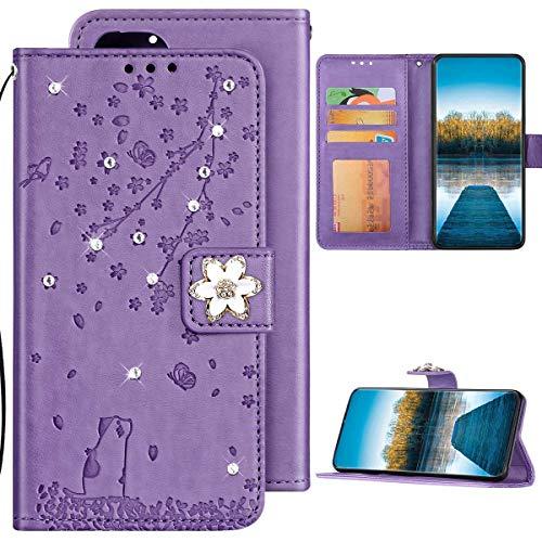 Samsung Galaxy S7 Edge Hülle Leder Tasche Flip Case Glitzer Bling Diamant Brieftasche Schutzhülle,Katze Kirschblüten Muster Klapphülle Handyhülle mit Kartenfächer für Galaxy S7 Edge,Lila