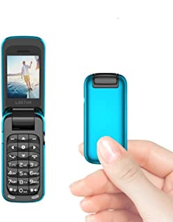 L8star Small Mini Flip Cell Phone SIM+TF Card MP3 Magic Voice Changer Bluetooth Dialer Music Cellphone BM60 (Blue)