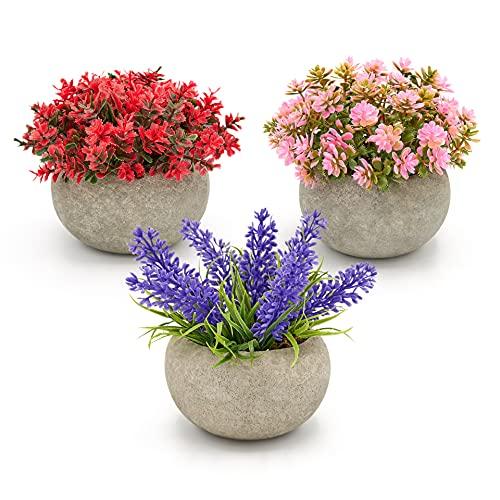 Magilot Plantas Artificiales Decorativas - Decoracion Hogar - Regalos Originales - Pack 3 Plantas Pequeñas con Flores Artificiales