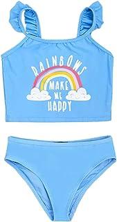 Little Girls Two Piece Rainbow Swimsuit Ruffle Halter Top Bikini Bottoms Swimming Suit Set
