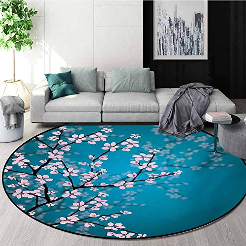Buy RUGSMAT Teal Machine Washable Round Bath Mat,Pink Blossoms Art Leaves and Plants Ombre Spring Ja...