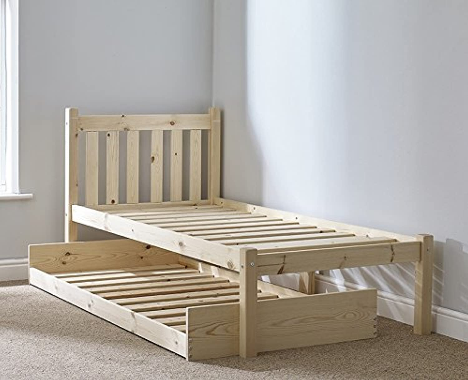 GUEST BED - 3ft single pine guest bed Frame - with pull out trundle guest bed