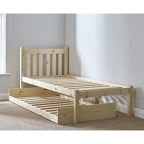 Guest Bed   2ft 6 SMALL SINGLE Pine Bed With Pull Out Trundle   FAST  DELIVERY
