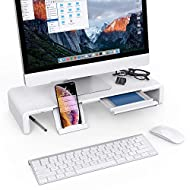 Foldable Monitor Stand Riser Klearlook Computer Monitor Stand with 3 Adjustable Width Compatible with Tablet Printer Laptop PC with Storage Drawer Tablet & Phone Stand Holder [White]