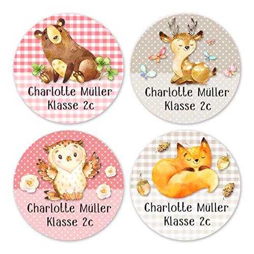 Papierdrachen 24 individuelle Aufkleber für Kinder - Motiv Waldfreunde - personalisierte Sticker - Perfekt zur Einschulung - Geschenk für die Schule - Namensaufkleber und Schulbuchetiketten