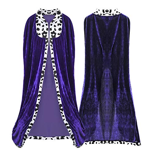 Proumhang King's Robe Prince Cloak King's Cape Adult Halloween Carnival Christmas Medieval Costumes Purple 130cm