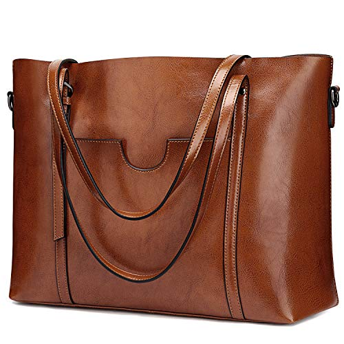 S-ZONE Women Genuine Leather Top Handle Satchel Daily Work Tote Shoulder Bag