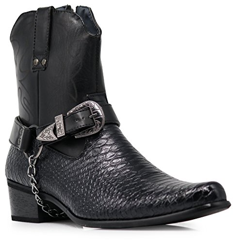 Alberto Fellini Men's Crocodile Prints Western Cowboy Boots with Side Zipper, Belt Buckle and Metal Chain (9, Black)
