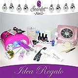 Kit ricostruzione unghie Professional gel uv fresa,aspiratore, nail art, guida italiana,